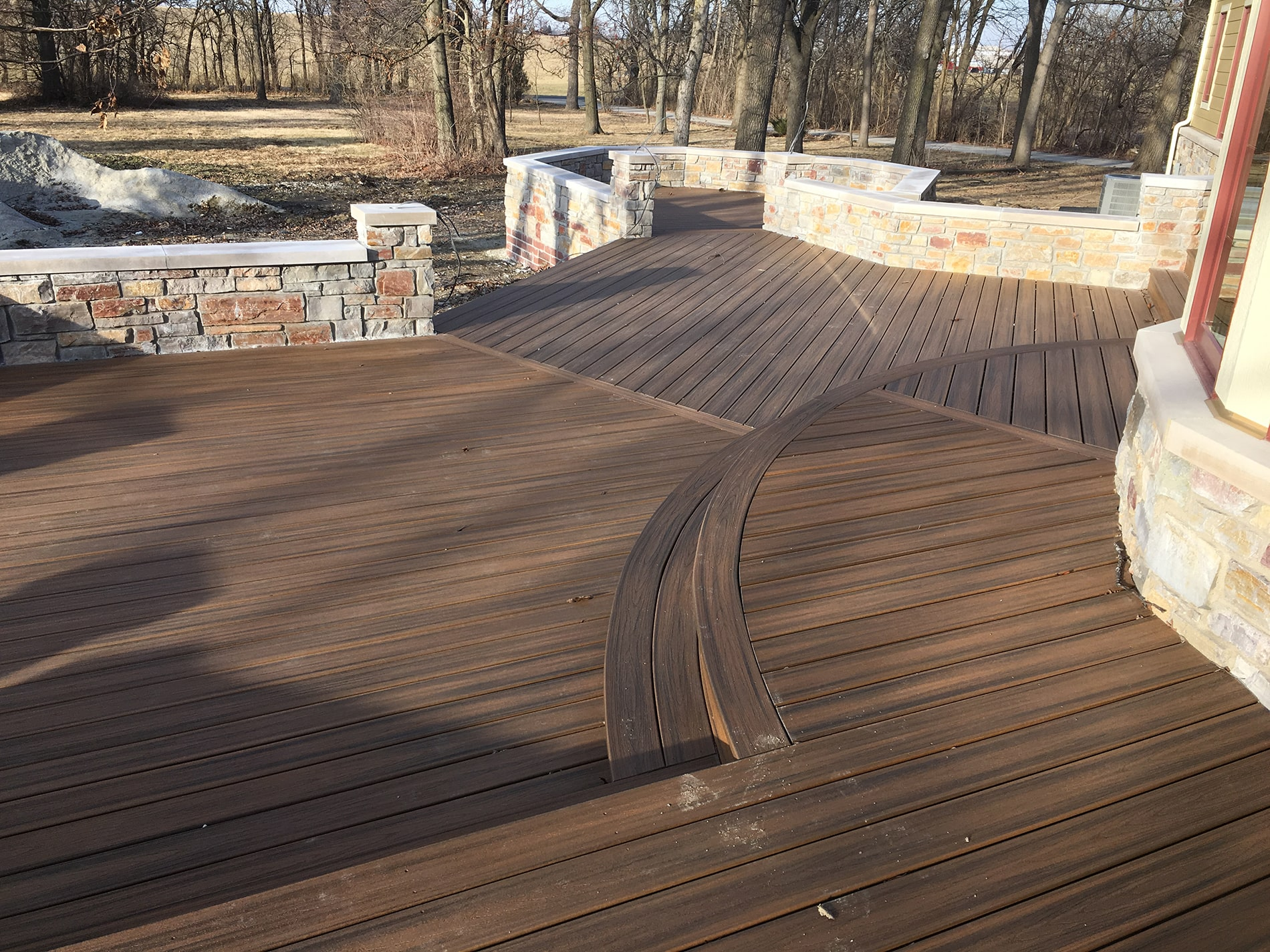 deck installation with natural stone