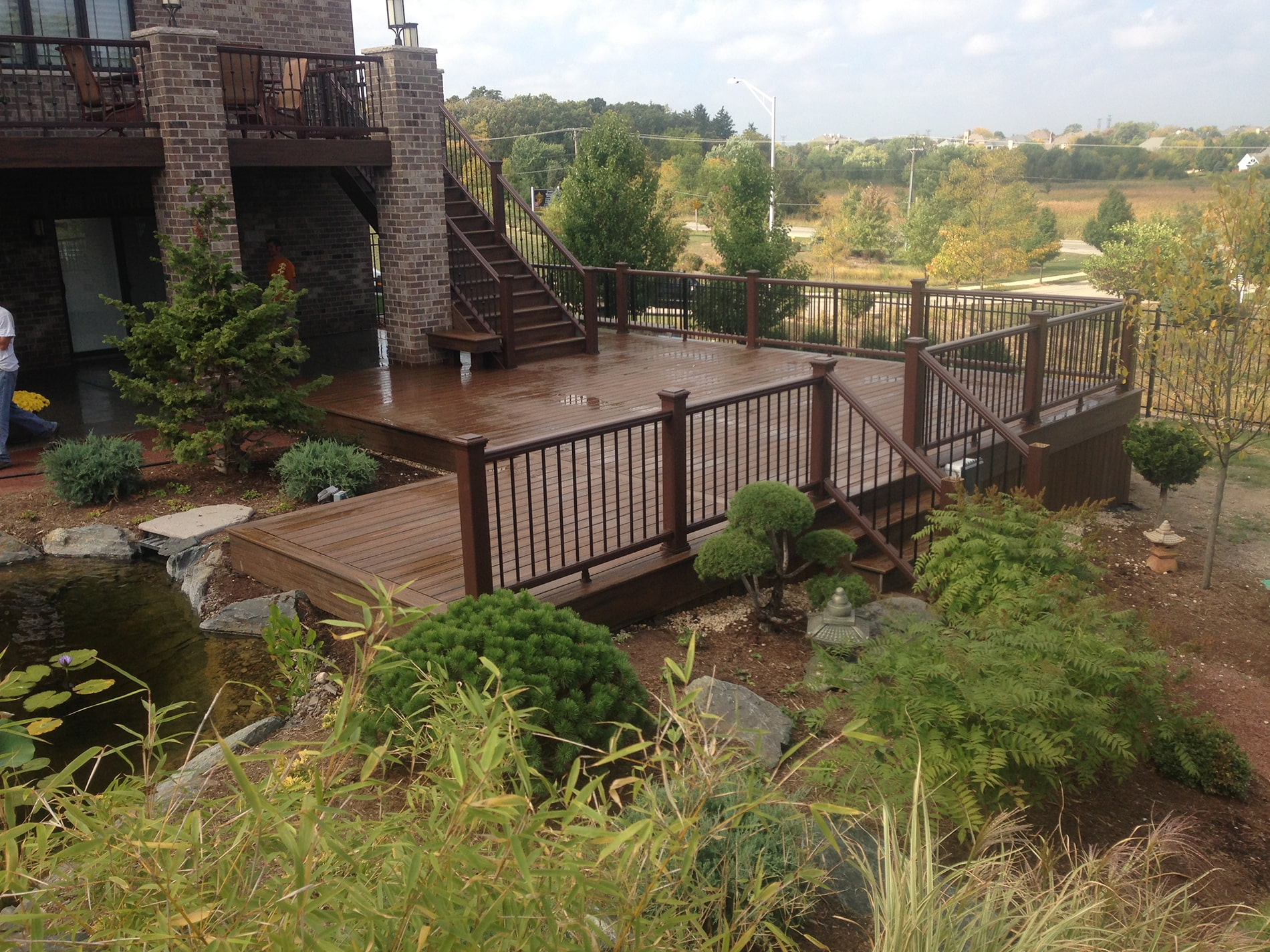 installation of large deck with staircases