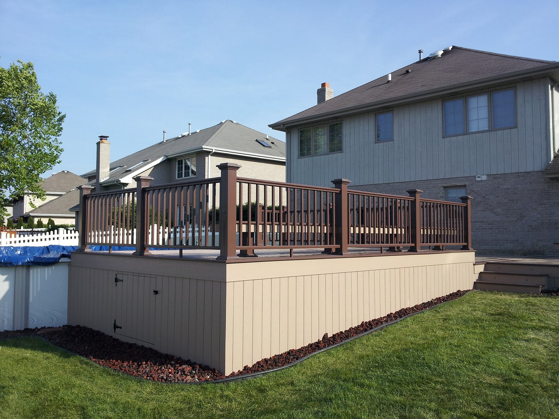 install of a pool deck with under storage