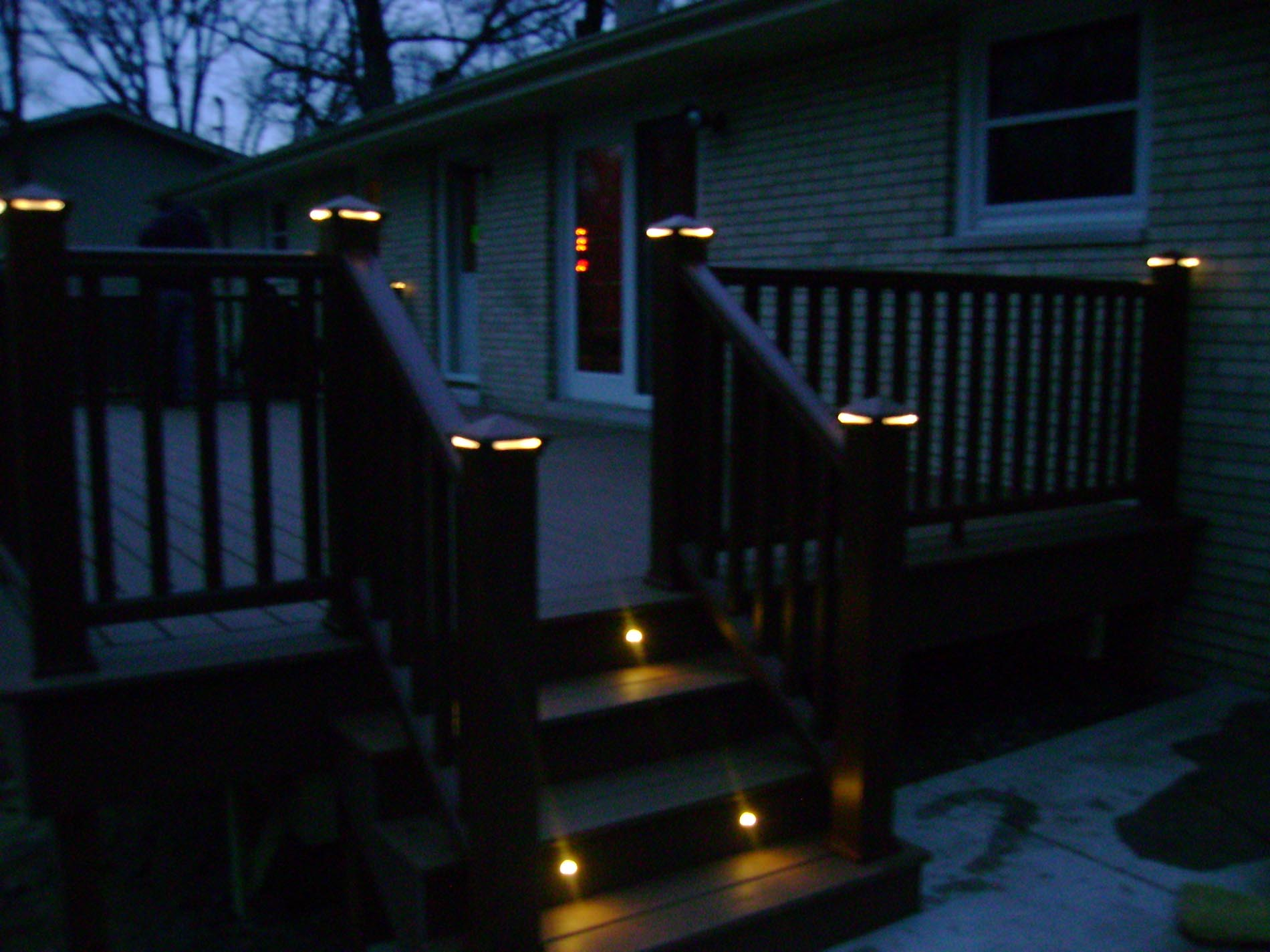 installed deck lighting at night
