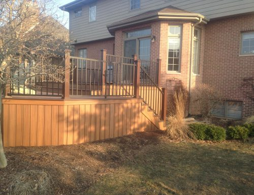 Brown Raised Deck with Railing