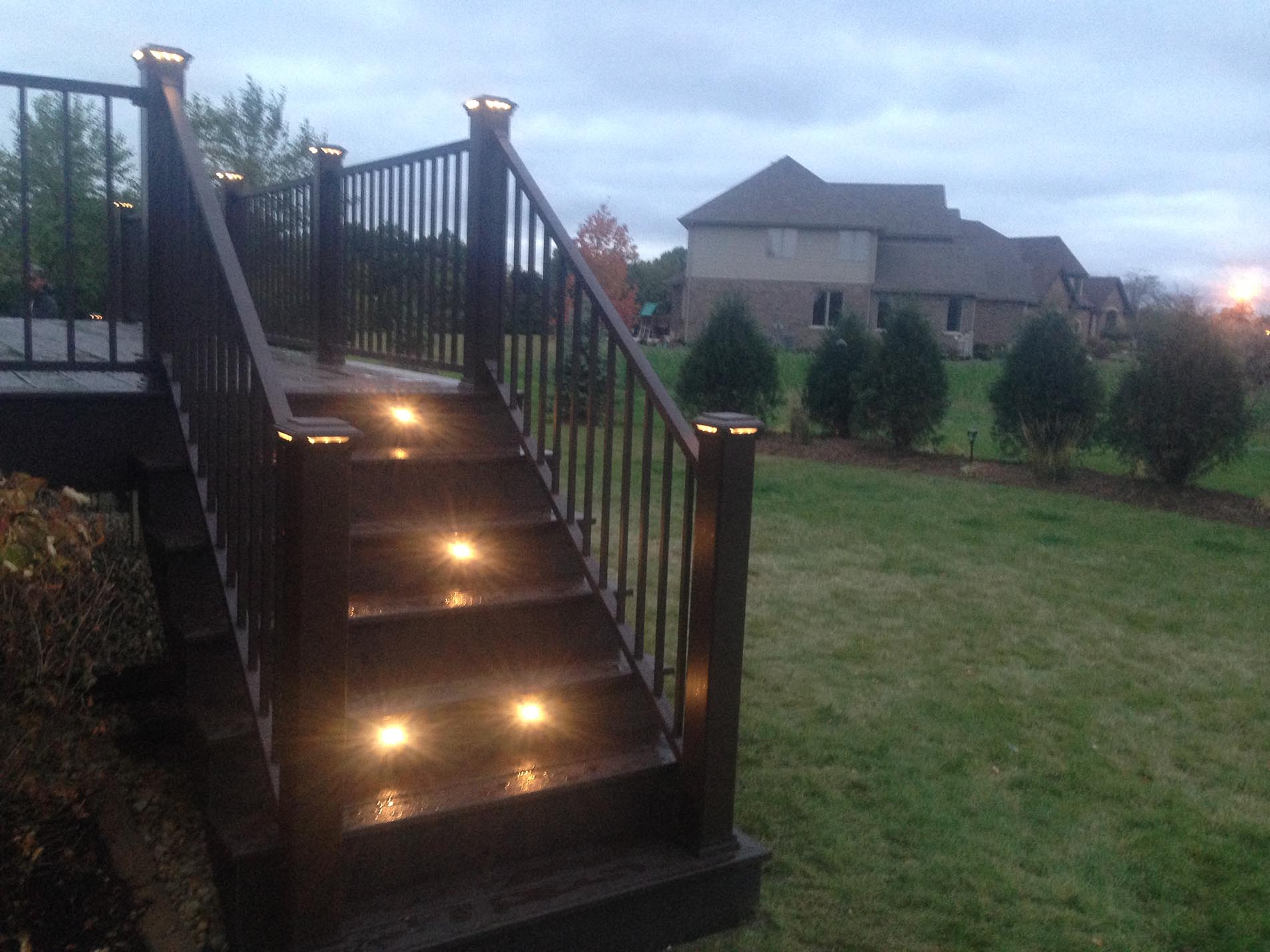 lighting installation in deck stairs